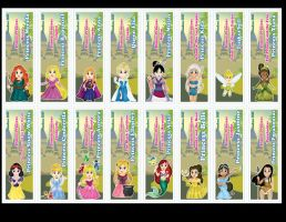 Chibi Disney Princess Bookmarks by DannimonDesigns