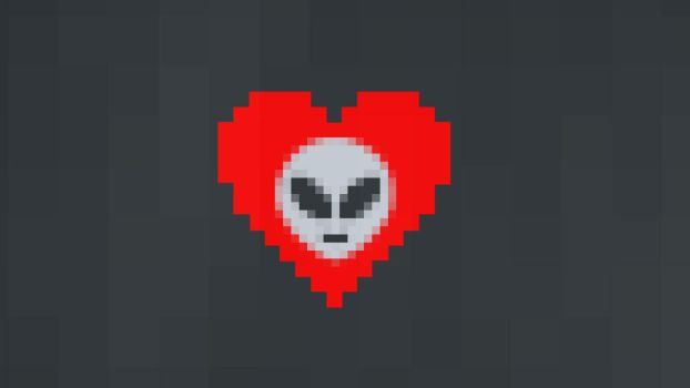 Pixel Love Emoji Alien by elmyke17