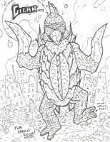 Gigan sketch for my nephew by Hartter