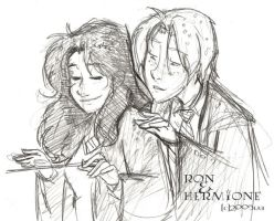 Ron and Hermione in Charms HBP by lberghol