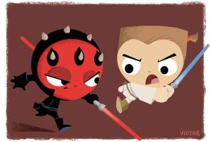 Obi Vs. Maul by JeffVictor
