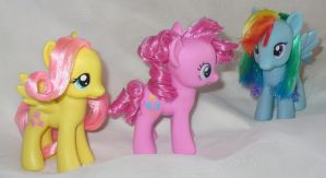Rainbow Dash Fluttershy and Pinkie New Hair Styles by mayanbutterfly