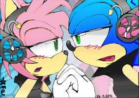 Amy and Sonic Magnet by Amely14128