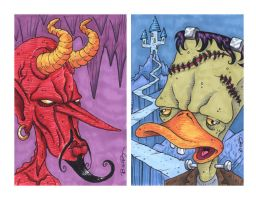 Devil n Frankenduck BIG cards by ATLbladerunner