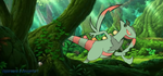 In the woods - Mega Sceptile Face Book Cover Photo by vaporeono