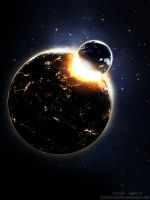 Planetary collison by HarelForge