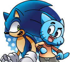 Gumball and Sonic by WaniRamirez