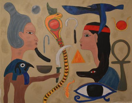 Egyptian wall painting by BrianZG