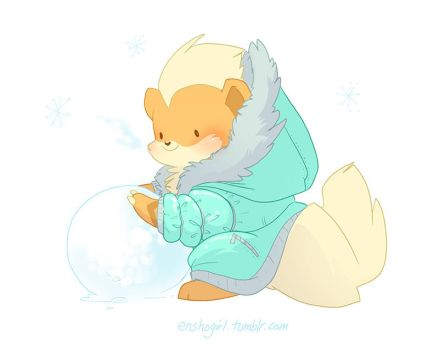 Winter Growlithe by jiggly