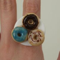 Polymer clay Donuts on a Plate Ring by ChroniclesOfKate