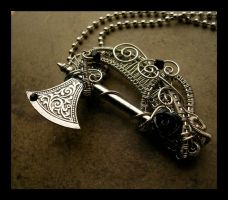 Gothic Black Rose - Battle Axe Pendant by LadyPirotessa