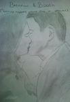 Bones and Booth kiss Drawing by xSavannahxx