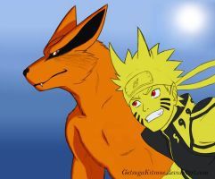 Naruto and Kurama by GetsugaKitsune