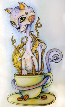 Cat and Coffee by jocokkk