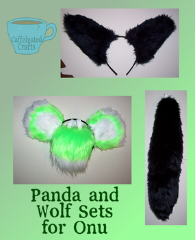 Pand and Wolf Sets for Onu by caffeinatedcrafts