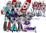 Slipstream surrounded by Megatrons by Metalchick36