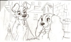 Lady and the Tramp sketch1 by Malici0us