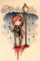 Chibi Cherry Pau in the rain by Nasuki100