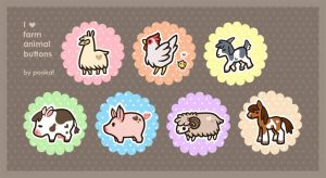 I Heart Farm Animal Button Designs by pookat