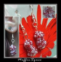 Beaded ball earrings by MuffinSquee