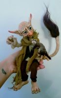 SOLD: Commission -'Fred + Fret' Troll + Pet Ferret by FaunleyFae