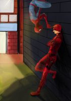 Daredevil and Spider-man by milkisall