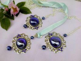 Blue glass with silver pendant by Mirtus63