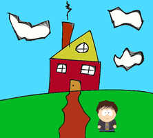 Zazaban Standing on a Hill in Front of a House by Zazaban