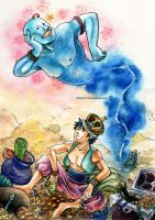 03-Aladdin and the Lamp genie by ginty212