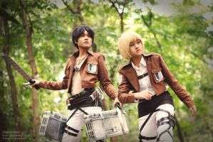 Eren Jaeger, Armin Arlert - Attack on Titan by Theronnx