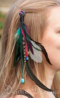 Tribal Feather Hair Extension Polymer Clay Hairpin by DeidreDreams