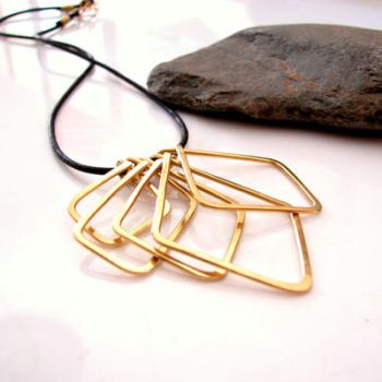Geometric brass necklace by Astukee