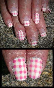 20150530 - Pink Gingham by m-everhamnails