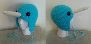 Bright Blue Crochet Narwhal Hat by LaviLovepaw