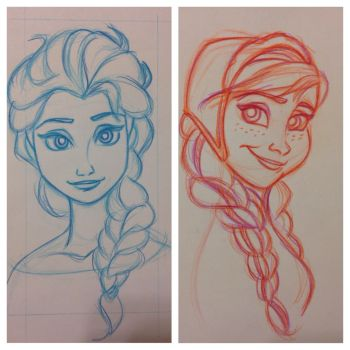 Disney's Frozen: Elsa and Anna Sketches by GilmoreFriends