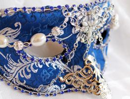 Royal Blue Brocade Mask with Filigree by DaraGallery