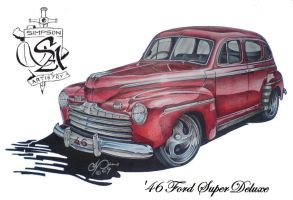 '46 Ford Super Deluxe by SIMPSONARTISTRY