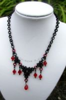Black and red beaded chainmaille necklace by TerraNovaJewels