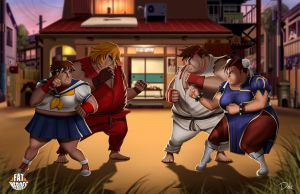 FAT HEROES  (Street Fighter) by CarlosDattoliArt