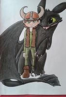 Hiccup and Toothless by Mioumioune