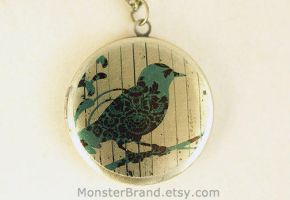 Floral Bird Locket Necklace by MonsterBrandCrafts