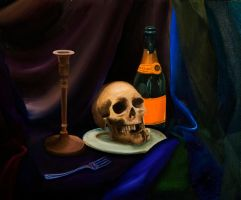 Skull and Champagne Still Life by yensidtlaw1969