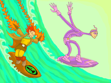 Tilia and Lord Worm surfing by LovgrenO