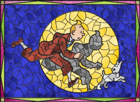 Tintin + Snowy Stained Glass by Suedetess