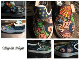 First acrylic paint shoes by Thesilentwhisper