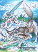 Cross battle Amaterasu Vs Great Wolf Sif by ShadowSaber