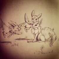 Flareon X Jolteon X Umbreon by 4444mayow