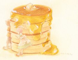 Pancake, honey and children by rriee