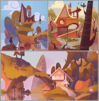 Happy little houses by ApollinArt