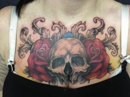 Skull - rose combo chest piece by madcreature